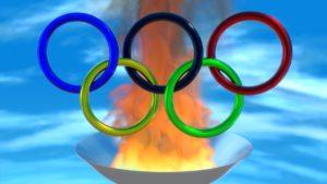 オリンピック・五輪の後ろに聖火